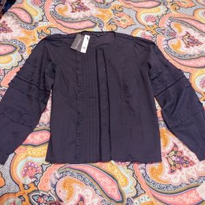 Walter Baker NWT Alicia button up size L black top